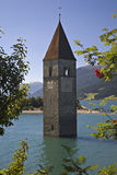 Churchtower in lake Reschen Royalty Free Stock Photos