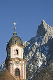 Churchtower in Mittenwald Royalty Free Stock Images
