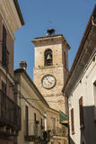 Churchtower and residential buildings in Roccamorice Italy Stock Photos