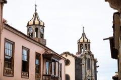 Churchtowers Iglesia De Nuestra Senora de los angeles Concepcion kościół los angeles Concepcion, Orotava, Tenerife, Hiszpania obrazy royalty free