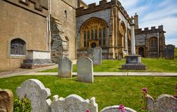 The churchyard of St Michael the Archangel Church. Lyme Regis. West Dorset. England. The churchyard of parish church of St Michael the Archangel, above Church royalty free stock photo