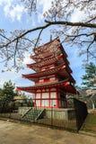 Chureito Pagoda in Arakura Sengen Shrine. Chureito Pagoda in Arakura Sengen Shrine area is viewpoint of Mount Fuji in combination with cherry blossoms and Stock Photo