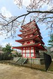 Chureito Pagoda in Arakura Sengen Shrine. Chureito Pagoda in Arakura Sengen Shrine area is viewpoint of Mount Fuji in combination with cherry blossoms and Royalty Free Stock Images