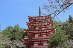 Chureito Pagoda at Arakura Sengen Shrine i. Popular place to take photos with Fuji Mountain in Japan Royalty Free Stock Images
