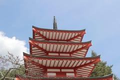 Chureito Pagoda at Arakura Sengen Shrine i. Popular place to take photos with Fuji Mountain in Japan Stock Photo