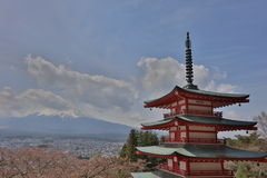 Chureito Pagoda at Arakura Sengen Shrine Royalty Free Stock Photo