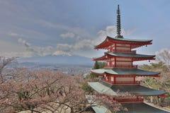Chureito Pagoda at Arakura Sengen Shrine. Mt Fuji viewed from behind Chureito Pagoda at 2016 Royalty Free Stock Photo