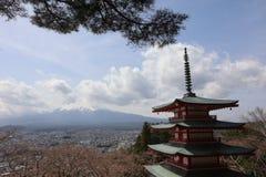 Chureito Pagoda at Arakura Sengen Shrine. Mt Fuji viewed from behind Chureito Pagoda at 2016 Royalty Free Stock Image