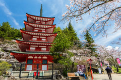 Chureito Pagoda in Arakura Sengen Shrine Stock Image
