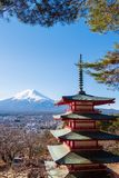 Chureito Pagoda with back view is Mount Fuji. The Chureito Pagoda with back view is Mount Fuji royalty free stock image