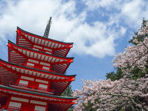 Chureito pagoda with cherry blossom Stock Photos