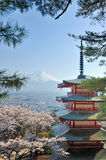 Chureito Pagoda and Fuji in Japan Stock Photos