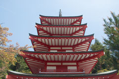 Chureito pagoda. In japan with clear sky. Front view Stock Photography