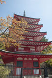 Chureito pagoda. In japan with clear sky. Front view Stock Images