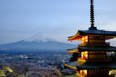 Chureito pagoda and Mount Fuji. In the evening Stock Image
