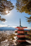 Chureito Pagoda with Mt.Fuji in Background. Chureito Pagoda is a fomous place to visit located near Mt.Fuji ,Japan Stock Photo