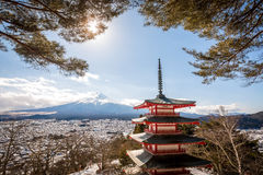 Chureito Pagoda with Mt.Fuji in Background. Chureito Pagoda is a fomous place to visit located near Mt.Fuji ,Japan Stock Image