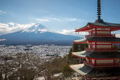 Chureito Pagoda with Mt.Fuji in Background. Chureito Pagoda is a fomous place to visit located near Mt.Fuji ,Japan Stock Photos