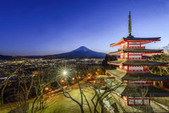 Chureito Pagoda and Mt. Fuji. During blue hour time Stock Images