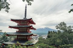 Chureito Pagoda and Mt. Fuji in summer. Fujiyoshida, Japan stock image