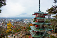 chureito pagoda with mt. fuji view Stock Photo