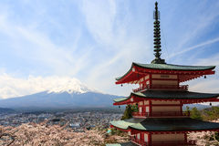Chureito Pagoda or Red pagoda with Mt. Fuji as the background. Royalty Free Stock Images