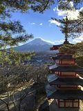 The Chureito Pagoda. Shoot on the mountain Stock Photography