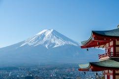 Chureito Peace Pagoda, built on a hilltop facing Mt. Fuji Royalty Free Stock Photo