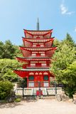 Chureito or red pagoda is the famous place near Fuji mount royalty free stock photo
