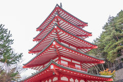 Chureito red pagoda Stock Image