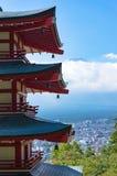 Chureitopagode met onderstel Fuji Fujiyoshida, Japan stock foto's