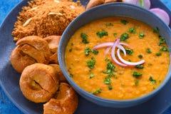 Churma del baati de Rajasthani comida-Dal del indio imagen de archivo libre de regalías