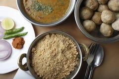 Churma - gemalen tarweschotel van India stock foto's