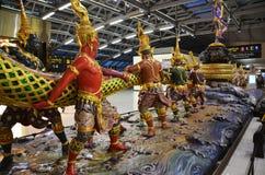 Churning of the Milk Ocean sculpture at Suvanabhumi Airport, Ban stock images