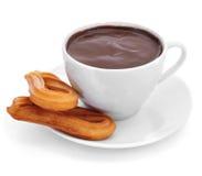 Churros-Betrugschokolade, ein typischer spanischer süßer Snack Lizenzfreies Stockfoto