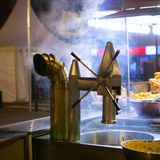 Churros and chocolate fritter typical food in Valencia Fallas Stock Photo