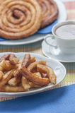 Churros with chocolate Stock Photography