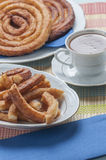 Churros with chocolate Stock Image