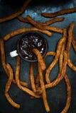 Churros con la salsa de chocolate Imagen de archivo libre de regalías