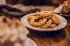 Delicious Churros dish stock photos