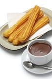 Churros en hete chocolade, Spaans ontbijt stock afbeelding