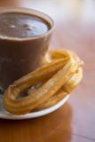 Churros. And Hot Chocolate in Barcelona, Spain Stock Image