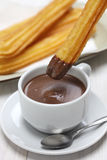 Churros and hot chocolate, spanish breakfast Royalty Free Stock Photos