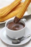 Churros and hot chocolate, spanish breakfast Royalty Free Stock Photos