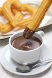Churros and hot chocolate, spanish breakfast Stock Image
