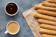 Churros Spain or Mexiacan breakfast meal street food baked sweet dough dessert Royalty Free Stock Image