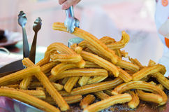 Churros. Stall selling, freshly made stock photo