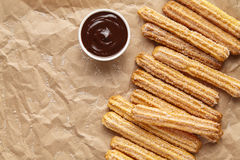 Churros traditional homemade Spain breakfast or lunch meal street fast food baked sweet Royalty Free Stock Photos