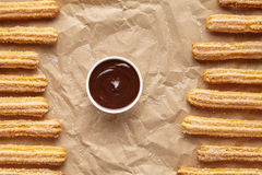 Churros traditional homemade Spain breakfast or lunch street fast food Stock Photos