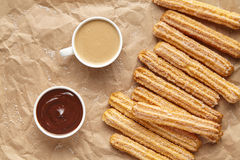 Churros traditional homemade Spain breakfast meal street food Royalty Free Stock Photography